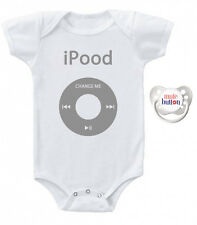 iPood Baby Romper & Pacifier Gift Set White