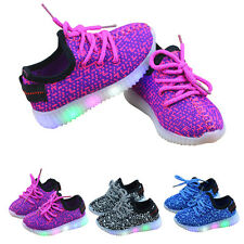Children Kids Boys Girls Lace Up Luminous Breathable Sneakers LED Light Up Shoes