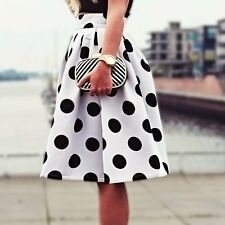 Women Vintage High Waist Polka Dot Skater Flared Long Skirt Pleated Party Dress
