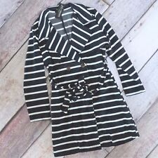 PLUS SIZE Nautical Striped Belted Trench Coat Navy White Thick Jersey