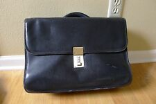 "Jack Georges 17"" Black Soft Leather Briefcase Business Case Bag"