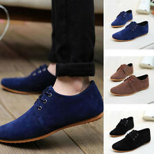 European Vintage Suede PU Leather Shoes Gentle Mens Casual Oxfords Fashion Flats