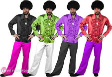 MENS 1970S COSTUME DISCO RUFFLE SHIRT AND FLARES FANCY DRESS 1960S S M L XL XXL
