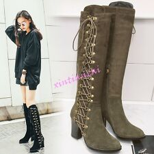 Womens SIde Lace Block Heel Knee High Boot Faux Suede Riding Shoes Punk ROck HOT