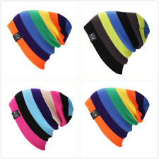 Men Women Wool Knit Knitted Winter Hat Ski Skull Cap Unisex Rainbow Hip-Hop Hats