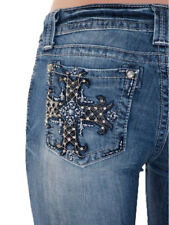 Miss Me Black Leather Cross Bootcut Jeans MP6224B