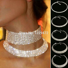 Women's Silver Color Crystal Rhinstone Necklace Choker Wedding Party Accessory