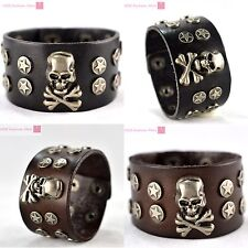 Punk Leather Cool Bracelet With Skull and Studded Star Bangle Cuff Wristband New