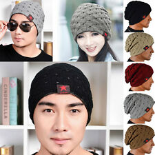 Unisex Men Winter Skull Chunky Knit Beanie Reversible Baggy Cap Warm Hat new