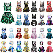 Women Digital Print Two Piece Set Crop Top & Skirt Skater Mini Dress Set Costume