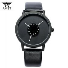 BRAND NEW AMST Mens Watch Waterproof Quartz Watch Stainless steel leather Wrist
