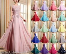 Long Chiffon Lace Evening Formal Party Ball Gown Prom Bridesmaid Dress Size 6~18