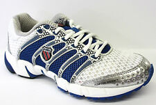 Ladies K-Swiss White & Classic Blue Lace Up Running Trainers K-ONA C 92243163