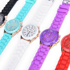 Unisex Silicone Rubber Jelly Gel Quartz Analog Sports Women Wrist Watch  CCO