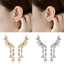 1 Pair Fashion Women Cute Gold Silver Crystal Leaf Ear Cuff Stud Drop Earrings