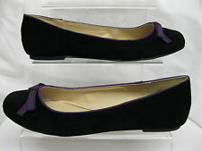 Ladies Spot On Black Suede Flat Ballerina Style Shoes with Purple Bow F8764
