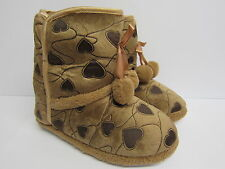 Girls Four Seasons Brown Heart Patterned Boot Slippers with Pom Poms