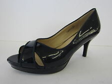 LADIES SPOT ON NAVY PATENT COURT SHOES WITH PEEP TOE F10069