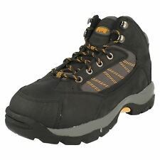 Mens Magnum Black/Dk Grey Leather Safety Steel Toe Cap Boots Style WORKER MID
