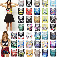 Womens 3D Printed Crop Top Sleeveless Cami Tank Vest T-Shirt Blouse Bustier Tee