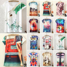 Women Slim Fit Short Sleeve 3D Graphic Casual T-Shirt Tops Blouse Tee Summer