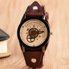 KEVIN Classic Special Design Wheel Gear Round Leather Band Men Women Wrist Watch