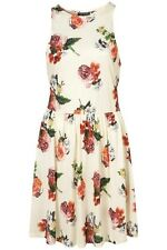 BN SUMMER TOPSHOP CREAM FLORAL PRINT JERSEY SKATER DRESS SIZE 6 RRP: £39 WOW