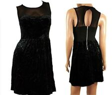 BRAND NEW TOPSHOP BLACK VELVET / MESH STRETCHY SKATER DRESS SIZES 6 8 10 12 14