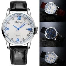 New Men Fashion Casual Artificial Leather Band Round Dial Quartz Watch KECP