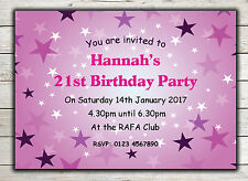 Birthday Invitations, Party Invites, 18th 21st 30th 40th 50th 60th any age Peg 1