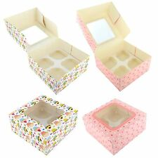 2x 4 Cup Cupcake Window Box Muffins Fairy Cakes Baking With Removable Inserts