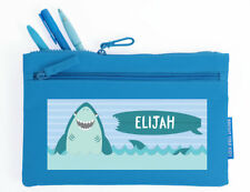 Bright Star Kids Flat Personalised Pencil Pouch Case / Bag with Name - Shark