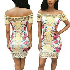 Hot Sexy Womens Wrapped Chest Waist Dresses Digital printing short-sleeved skirt