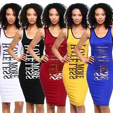 Hot Sexy Womens Sling Skirt Long vest Bare back dress Solid color Dazzle letters