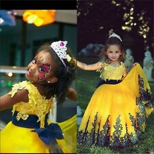 Lace Applique Flower Girl Dress Princess Birthday Formal Prom Gowns Pageant 2017