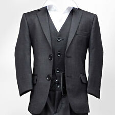 NEW BOYS SUIT IN DARK GREY ITALIAN CUT PAGEBOY WEDDING PROM FITTED SUIT