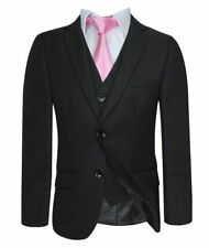 Premium Boys Suit Black Fitted Funeral Pageboy Wedding Formal Prom Boy Suits