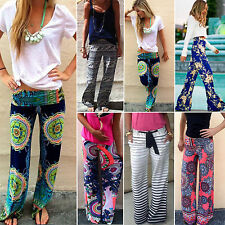 Womens Floral Loose Beach Boho Trousers Straight Leg Palazzo Long Pants  AU 6-12