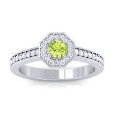 Green Peridot IJ SI Gemstone Diamond Engagement Ring Women 14K Gold