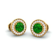 Green Emerald IJ SI Diamonds Women Halo Gemsone Stud Earrings 18K Gold