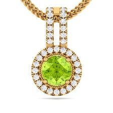 Green Peridot IJ SI Fine Diamond Round Gemstone Pendant Women 18K Gold