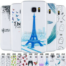 For Samsung Galaxy Transparent TPU Rubber Gel Soft Back Skin Painted Case Cover