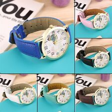 Round Dial Butterfly Pattern Women Lady PU Leather Band Quartz Wrist Watch O4