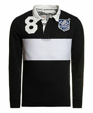 New Mens Superdry Factory Second World Legends Rugby Shirt Vintage Black Mix