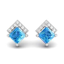 Blue Topaz FG SI Diamonds Princess Gemstone Stud Earrings 14K Gold