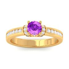 Purple Amethyst FG SI Channel Diamonds Engagement Ring Women 18K Gold