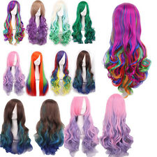 Rainbow Cosplay Wigs Long Natural Straig Curly Wavy Hair Wig Fancy Dress AG