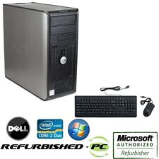 CLEARANCE!!! Fast Dell Desktop Tower PC Core 2 Duo WINDOWS 10 Keyboard Mouse