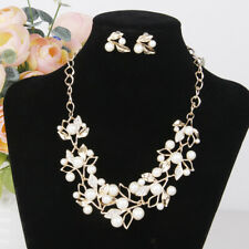 Chunky Crystal Leaves Pearls Statement Necklace Earrings Bride Girls Jewelry Set