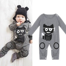 Kids Baby Boys Girls Infant Cat Print Romper Jumpsuit Bodysuit Clothes Outfits